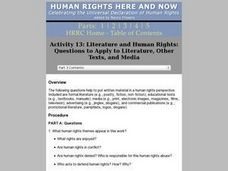 Literature And Human Rights: Questions to Apply to Literature, Other Texts, and Media Lesson Plan