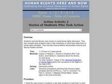 Stories of Students Who Took Action: Human Rights Lesson Plan