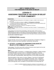 Assessing Freedom of Religion or Belief in Your Community Lesson Plan