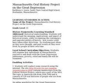Massachusetts Oral History Project on the Great Depression Lesson Plan