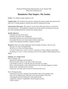 Boundaries That Inspire: The Sestina Lesson Plan