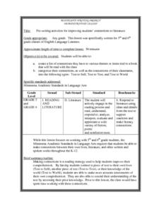 Pre-writing activities for improving students' connections to literature Lesson Plan