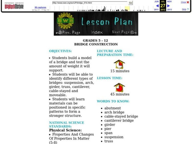 BRIDGE CONSTRUCTION Lesson Plan