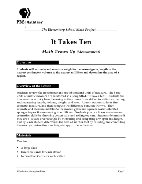 It Takes Ten Lesson Plan