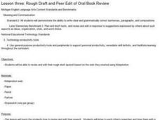 Rough Draft and Peer Edit of Oral Book Review Lesson Plan