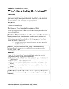 Who's Been Eating the Oatmeal? Lesson Plan