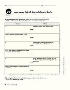 British Imperialism in India Worksheet
