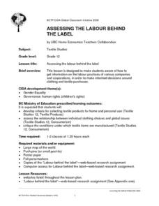 Assessing the Labour Behind the Label Lesson Plan