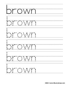 Brown Tracing Practice Worksheet