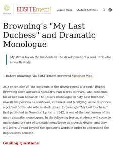 "Browning's ""My Last Duchess"" and Dramatic Monologue Lesson Plan"
