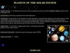 Planets of the Solar System Lesson Plan
