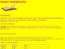 Integer Mulitiplication Lesson Plan