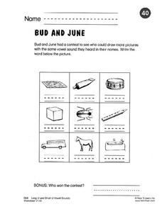 Bud And June Worksheet