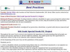 8th Grade Special Needs P.E. Project Lesson Plan