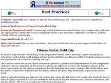 Fitness Center Field Trip Lesson Plan