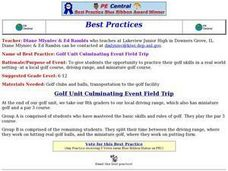 Golf Unit Culminating Event Field Trip Lesson Plan