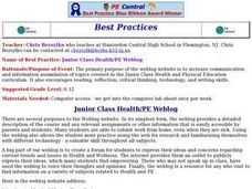 Junior Class Health/PE Weblog Lesson Plan