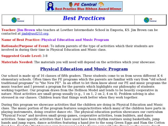 Physical Education and Music Program Lesson Plan
