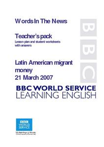 Words In The News Latin American Migrant Money Lesson Plan