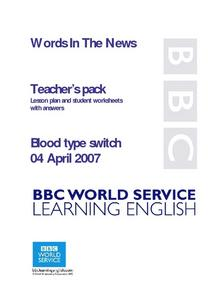 Blood type Switch Lesson Plan