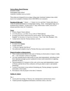Unit on Henry David Thoreau Lesson Plan