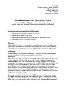 The Mathematics of Space and Place Lesson Plan