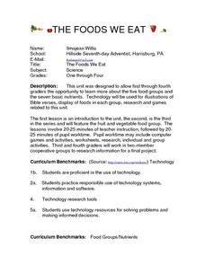 THE FOODS WE EAT Lesson Plan