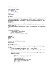 Needs of Living Things Lesson Plan