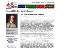 Celebrating  Benjamin Franklin Lesson Plan