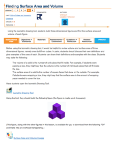 Finding Surface Area and Volume—Using Cubes and Isometric Drawings Lesson Plan