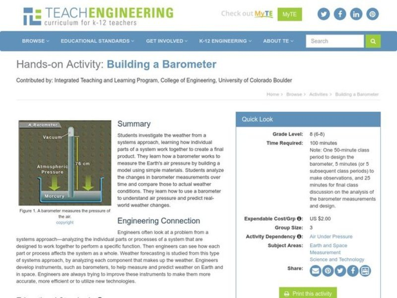 Building a Barometer Activities & Project