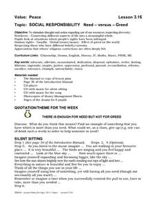 Social Responsibility   Need - Versus - Greed Lesson Plan
