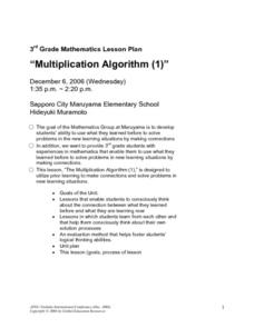 Multiplication Algorithm (1) Lesson Plan