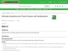 Estimate Quotients and Check Division With Multiplication Lesson Plan