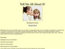 Tell Me All About It!! Lesson Plan