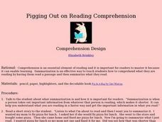 Pigging Out on Reading Comprehension Lesson Plan