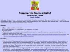 Summarize Successfully Lesson Plan