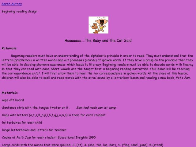 The Baby And the Cat Lesson Plan
