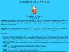 Remember What We Read Lesson Plan
