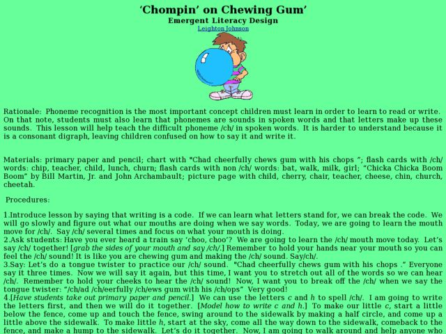 Chompin' on Chewing Gum Lesson Plan