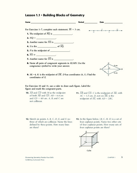 Building Blocks Of Geometry Worksheet For 9th 11th Grade Lesson