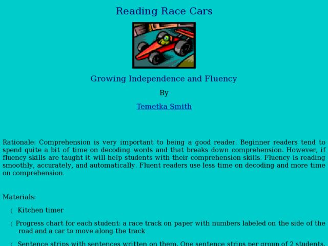Reading Race Cars Lesson Plan