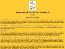 Summing it all Up...In Your Own Words Lesson Plan