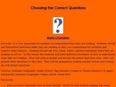 Choosing the Correct Questions Lesson Plan