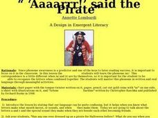 """ 'Aaaarrr!' said the Pirate"" Lesson Plan"