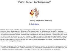 """Faster, Faster, Red Riding Hood!"" Lesson Plan"