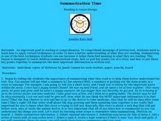 Summarization Time Lesson Plan