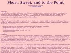 Short, Sweet, and to the Point Lesson Plan
