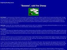 """Baaaaa"", said the Sheep Lesson Plan"
