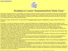 Summarization Made Easy Lesson Plan